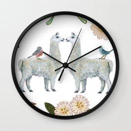 Llama and Luna Moth Wall Clock