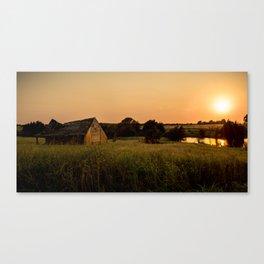Abandoned Barn at Sunset Canvas Print