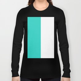 White and Turquoise Vertical Halves Long Sleeve T-shirt