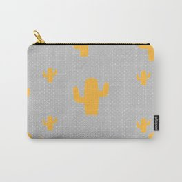 Mustard Cactus White Poka Dots in Gray Background Pattern Carry-All Pouch