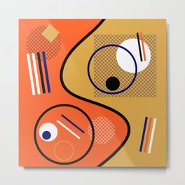 Opposing Sides - Abstract, orange and mustard, geometric, contrasting design Metal Print