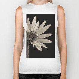 Black And White Sunflower Biker Tank