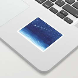 Falling star, shooting star, sailboat ocean waves blue sea Sticker