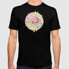 Pink Paisley Kimono Bouquet MEDIUM Mens Fitted Tee Black