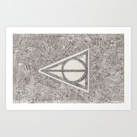 deathly hallows Art Prints featuring deathly hallows by Clara Lucie P