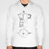 blueprint Hoodies featuring Coffee pot blueprint sketch  by Eltina Giannopoulou
