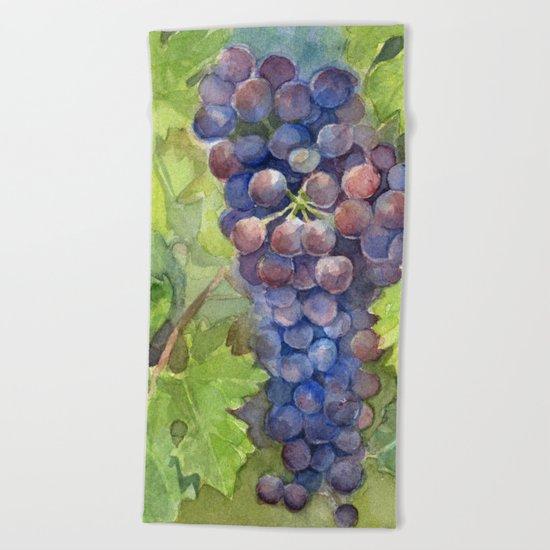 Grapes Watercolor | Wine Lovers Beach Towel