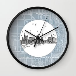 Chicago, Illinois City Skyline Illustration Drawing Wall Clock