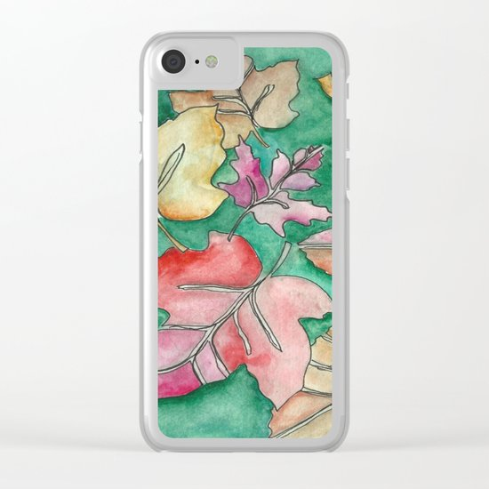 Fall Leaves Fall Clear iPhone Case