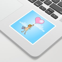 Cupid with harp on Valentine's Day Sticker