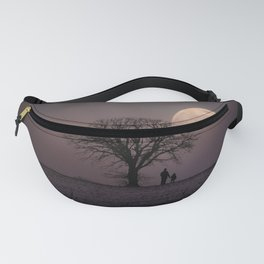 Father and Child Under a Winter Moon Fanny Pack