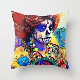 Day of the Dead Queen Throw Pillow