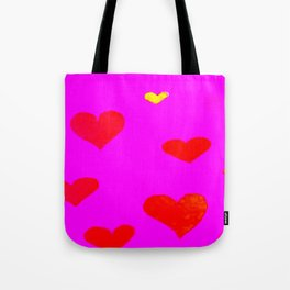 Red and Pink Falling Hearts Tote Bag