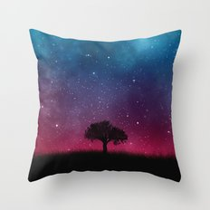 Tree Space Galaxy Cosmos Throw Pillow