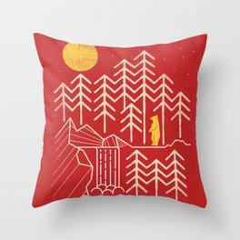 Sunlands - Bear T-Shirt, Bear, Nature, Geometric, Waterfall, Hiking gift, Walking, outdoors Throw Pillow