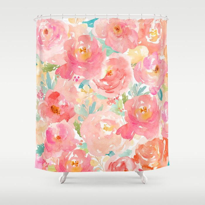 Preppy Pink Peonies Shower Curtain By Huntleigh