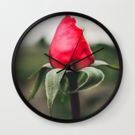Closed Red Rose Wall Clock