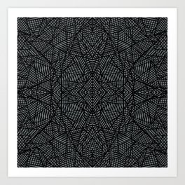Ab Lace Black and Grey Art Print