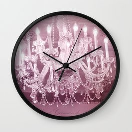 Paris Pink White Sparkling Crystal Chandelier Wall Art and Home Decor Wall Clock