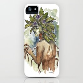 Mandrake Inktober Ink and Watercolor Illustration iPhone Case