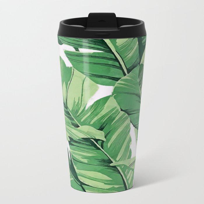Tropical banana leaves V Metal Travel Mug