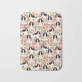 Cavalier King Charles Spaniel floral flowers dog breed pattern dogs Bath Mat