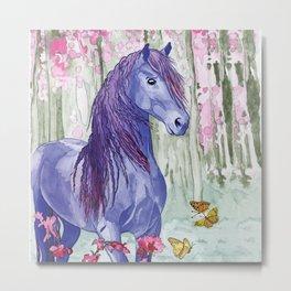 Purple Horse and butterflies Metal Print