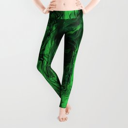 Nervous Energy Grungy Abstract Art Mint Green And Black Leggings