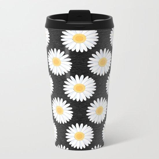 Spring Daisies_Black Metal Travel Mug