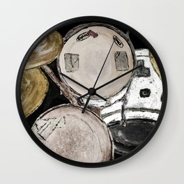 drum set, ready to rock Wall Clock