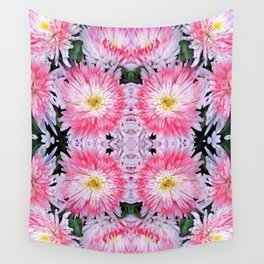 Rose Pink White Flower Blossoms Dahlias Wall Tapestry