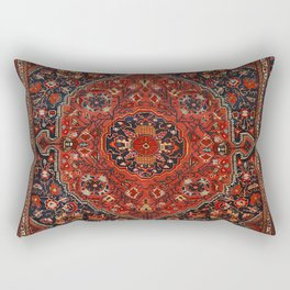 Persian Joshan Old Century Authentic Colorful Red Rusty Blue Vintage Rug Pattern Rectangular Pillow