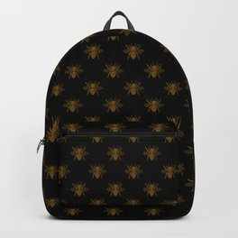 Foil Bees on Black Gold Metallic Faux Foil Photo-Effect Bees Backpack