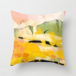 landscape abtract - paysage jaune Throw Pillow