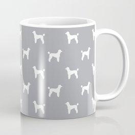 Poodle silhouette grey and white minimal modern dog art pet portrait dog breeds Coffee Mug