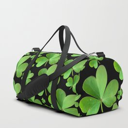 Clovers on Black Duffle Bag