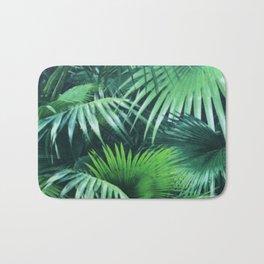 Tropical Botanic Jungle Garden Palm Leaf Green Bath Mat