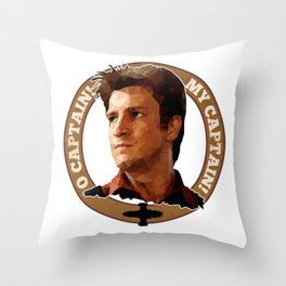 Cpt Malcolm Reynolds // Firefly // Nathan Fillion, Low Poly, Browncoats, Captain Tightpants Throw Pillow