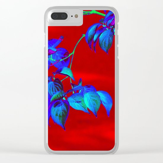 Red Sky And Blue Leaves Clear iPhone Case