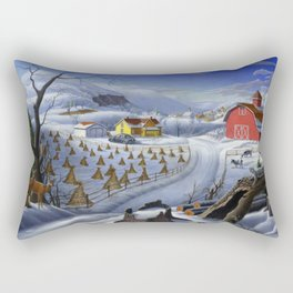 Rural Country Farm Winter Landscape Painting With Deer Rectangular Pillow