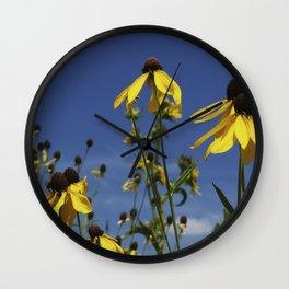 Yellow Coneflower, Ratibida, with azure prairie sky Wall Clock