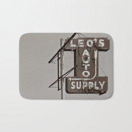 Vintage Neon Sign - Leo's Auto Supply - Tucson Arizona Bath Mat
