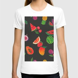 Hand drawn fruity summer time pattern black background T-shirt