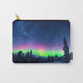 Aurora Borealis Over Wintry Mountains Carry-All Pouch