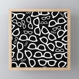 Smart Glasses Pattern - White on Black Framed Mini Art Print