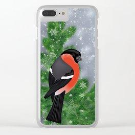 Bullfinch birds on fir tree branches Clear iPhone Case
