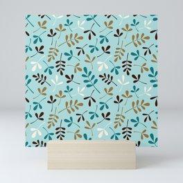 Assorted Leaf Silhouettes Teals Cream Brown Gold Ptn Mini Art Print