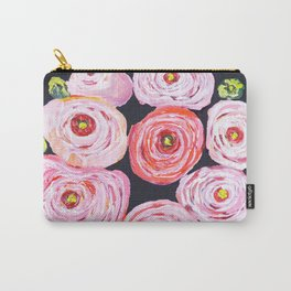Ranunculus, peony, pink navy floral Carry-All Pouch