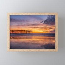 Pacific Beach Pier Sunset (orange, purple) Framed Mini Art Print