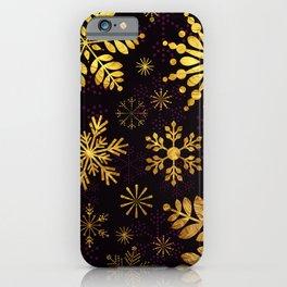Golden Snowflakes iPhone Case